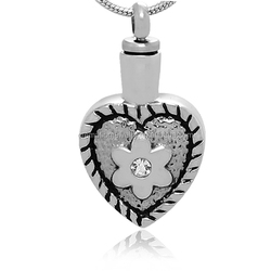 Crystal Flower Always in My Heart Cremation Jewelry Wholesales Stainless Steel Hollow Out Cremation Keepsake Urn Pendant For Pet