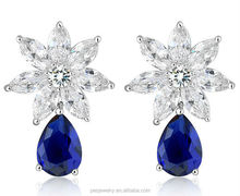 Simple Graceful colourful AAA cubic zircon 925 sterling silver tear drop earrings
