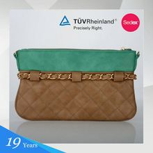 Pu Brown And Green Medium Soft Clutch Bag For Woman
