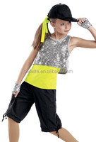 MB2015181 Teen Girls Black lycrial silver sequin top yellow lycrial T-shirt model new design hip hop dance costume