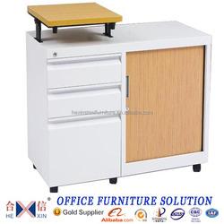 Adjustable wooden top tambour door filing cabinet side return table