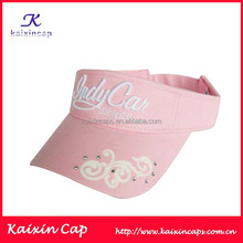 wholesale top quality custom 3d embroidery visor cap with velcro closure