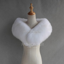 QC9177-4 natural real white fox fur shawl scarf