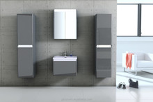 two bathroom cabinet with basin gray