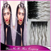 """Stock! cheap price 20"""" fold black/grey two tone synthetic ombre braid 100% braid hair"""