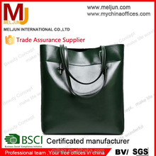 2015 Green High quality Europe America Style glossy pu leater hand bag for woman , lady shopping bag , large tote bag