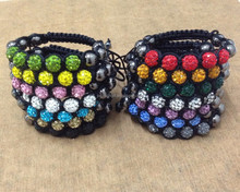 Multi color Color good quality Handmade Shambala Bracelet Knitting Woven Ball Crystal Bead Bangle