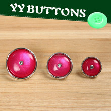 colorful half ball cabochon beads and plastic gold or silver torus shank button for blazer