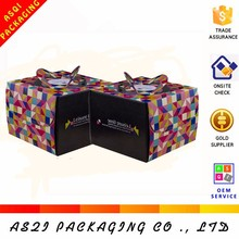 colorful logo printed carry handle birthday cake packaging paper custom corrugated box