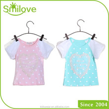 XR-6012 korean popular child export branded garments charming baby girl tee t shirt