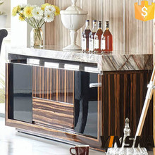 wooden buffet stove table, pint marble top sideboard