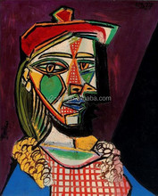 Canvas pictures Woman in beret and checked dress by Picasso