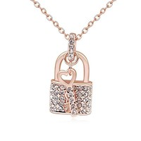 High quality authentic austrian crystal gold plated key lock necklace