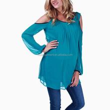Super softer crepe chiffon back big V neck fashion office wear maternity top