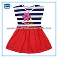 Azul marino y blanco de color con bordados baby girl verano flor vestidos de fiesta para niños( h4791)