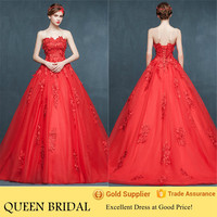 2015 Newest Lace Appliqued Beautiful Red Wedding Dresses Ball Gown