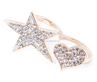 fashion czech crystal jewelry , two finger ring designs