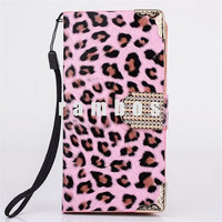 Magnetic PU Leather Capa Para Wallet Stand Card Holder Money Pocket Leopard Skin Cases Cover for iPhone 6 & 6 Plus