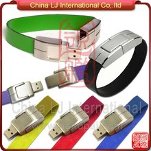 promotional gift bracelet pen drive colorful Leather usb flash drive wristband