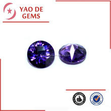 Amethyst Round Shape CZ Gems, Princess Cut Glass Stone, Wholesale Synthetic Gems