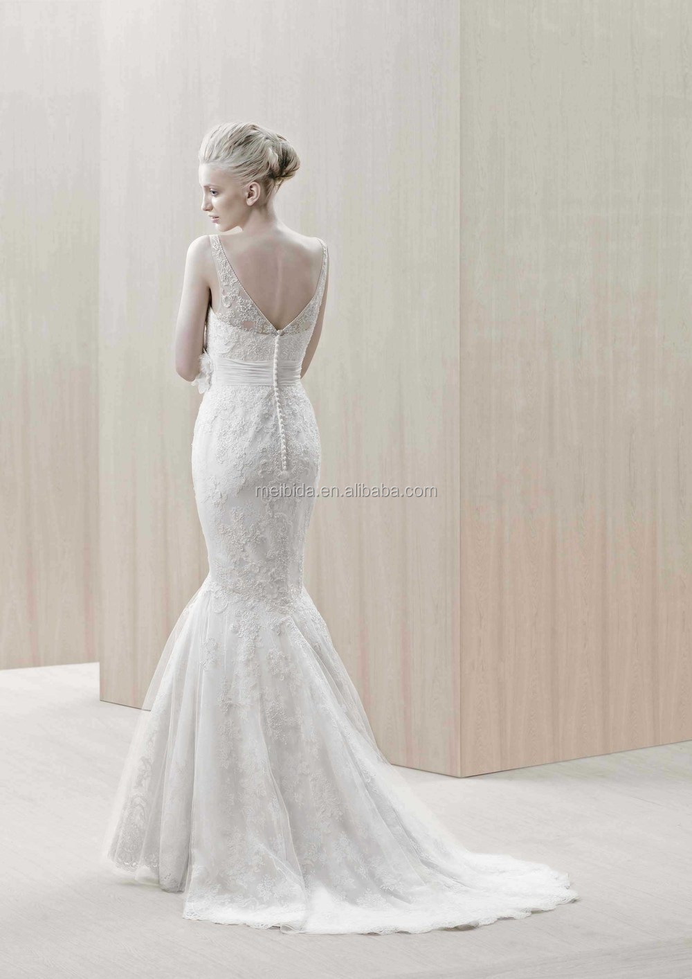Fishtail Wedding Dress Derby : Wedding dress with lace fabric fishtail style button back bridal gown