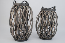 Inner door ourdoor willow lantern ,candle holder with glass rope handle wicker candle holder