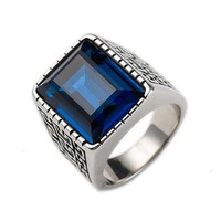 Jewel One Jewellery Mens Classic Design High Quality Stainless Steel Blue Gemstone Ring