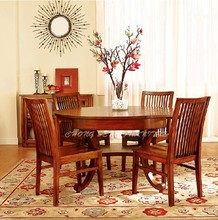 DT0902- Rustic extendable round wood dining table and chairs