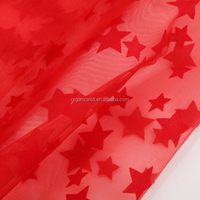 latest design adorable little star flocking organza decoration fabric