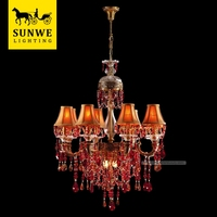 Guangzhou Led 10 Lights Red wedding centerpiece Lampshade Bronze crystal ceiling lighting