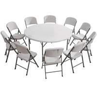 Factory of plastic round folding table for sale
