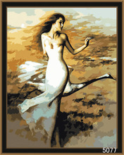 Dancing nude girl digital DIY oil painting by numbers