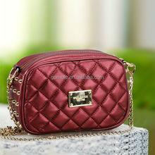 2015 big brand lady genuine leather bag studded pink shoulder bag evening bag