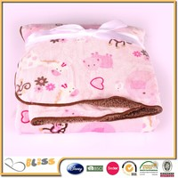 100% polyester pink printed warm baby blankets/ blanket fleece for baby