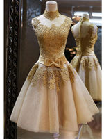 HT1253 Elegant high neck gold color lace appliqued short evening dress malaysia online shopping