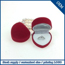 2015 China New Products Gift Items Wholesale Jewelry Velvet Ring Heart Shaped Jewelry Box