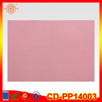 plain design pvc plastic woven pink color kitchen mats vinyl soft cup mat table mats