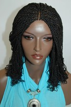 Alibaba hot selling high quality peruvian remy human hair kinky twist braided lace wig