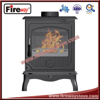 Wood burning cast iron material stove for secondary combustion