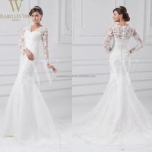 China custom made irish lace wedding dresses long sleeve princess wedding gowns