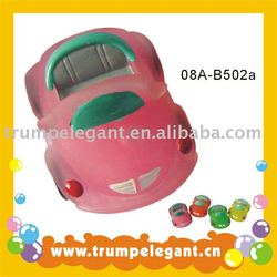 transparent rubber toy car with pink shower gel inside