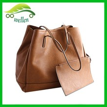 New trendy weekend tote bag with pocket large leather tote bag for school