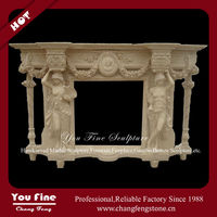 Modern Women Statues Beige Marble Carving Freestanding Fireplace Surround