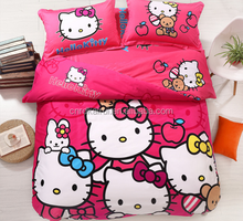home Textile Bedding Sets Polyester/Cotton Children cartoon kitty Comforter set 4Pcs
