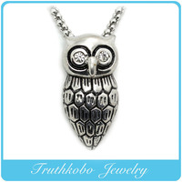 Hotsale High Quality Ancient Casting 3D Stainless Steel Cute Animal Owl Shape Pendant Origami Owl Charms with shiny stone