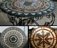 Top quality outdoor round marble mosaic table top