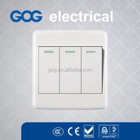 3 gang wall switch, white color light switch round radian switch and socket