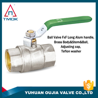 TMOK 1/2'' long handle female and female NPT PN40 forged full bore full port 600 wog brass ball valve teflon washer with CE