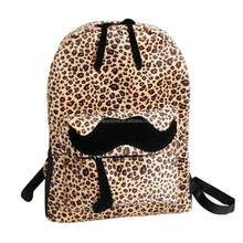 Fashion New Free shipping European and American Style Women Backpacks Lovely beard Vintage Leopard bag PU leather Backpack