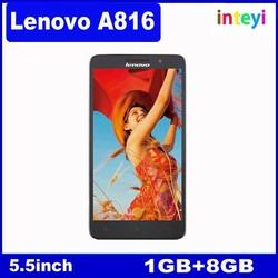 In Stock Lenovo A816 MSM8916 Quad Core 5.5 inch IPS 1GB RAM 8GB ROM 4G FDD LTE Mobile Dual SIM 8MP Camera GPS China Smartphone